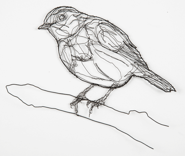wire sculpture of robin by RosemaryCraft