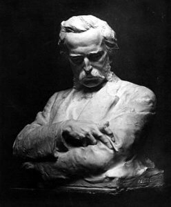 Madison Colby marble sculpture bust of Bret Harte, 1870.
