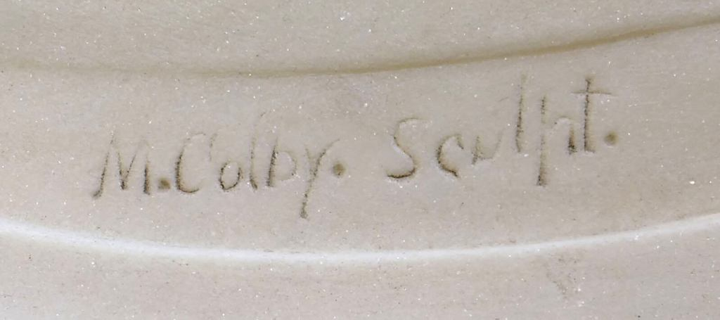 """M. Colby Sculpt, signature from the back of marble sculpture """"Evening"""""""