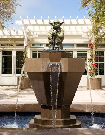 The Yoda Fountain welcomes guests to Lucasfilm in San Francisco