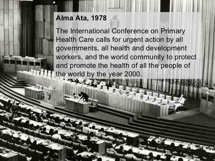 """1978 """"Dichiarazione di Alma Ata"""""""