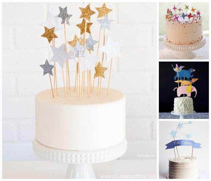 Decorazioni per torte di compleanno paper cake toppers - Decorazioni natalizie per torte ...