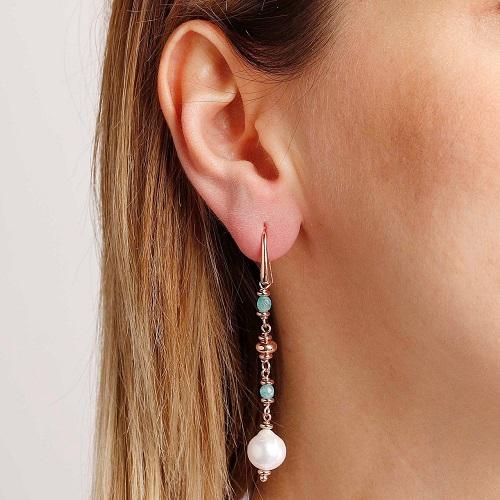 orecchini perle e amozzonite