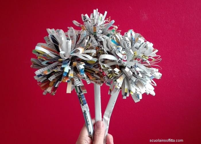 Fiori di carta fai da te riciclando vecchie riviste e volantini