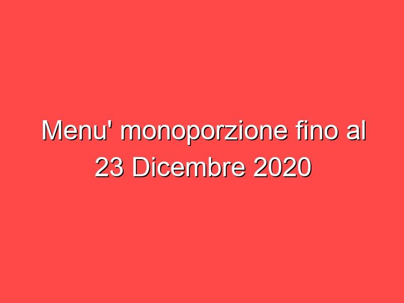 Menu' monoporzione fino al 23 Dicembre 2020