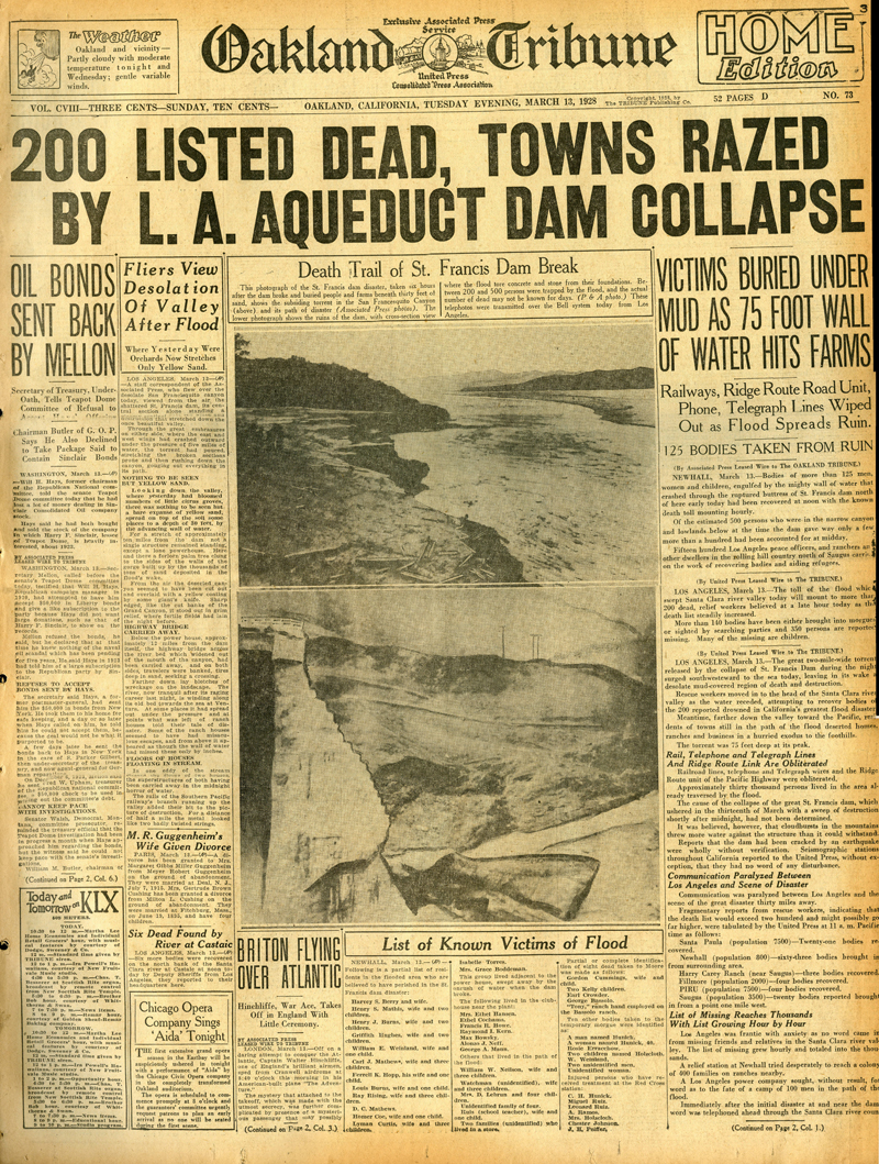 Newspapers of the St. Francis Dam Disaster.  OAKLAND TRIBUNE (NEWSPAPER),  TUESDAY, MARCH 13, 1928