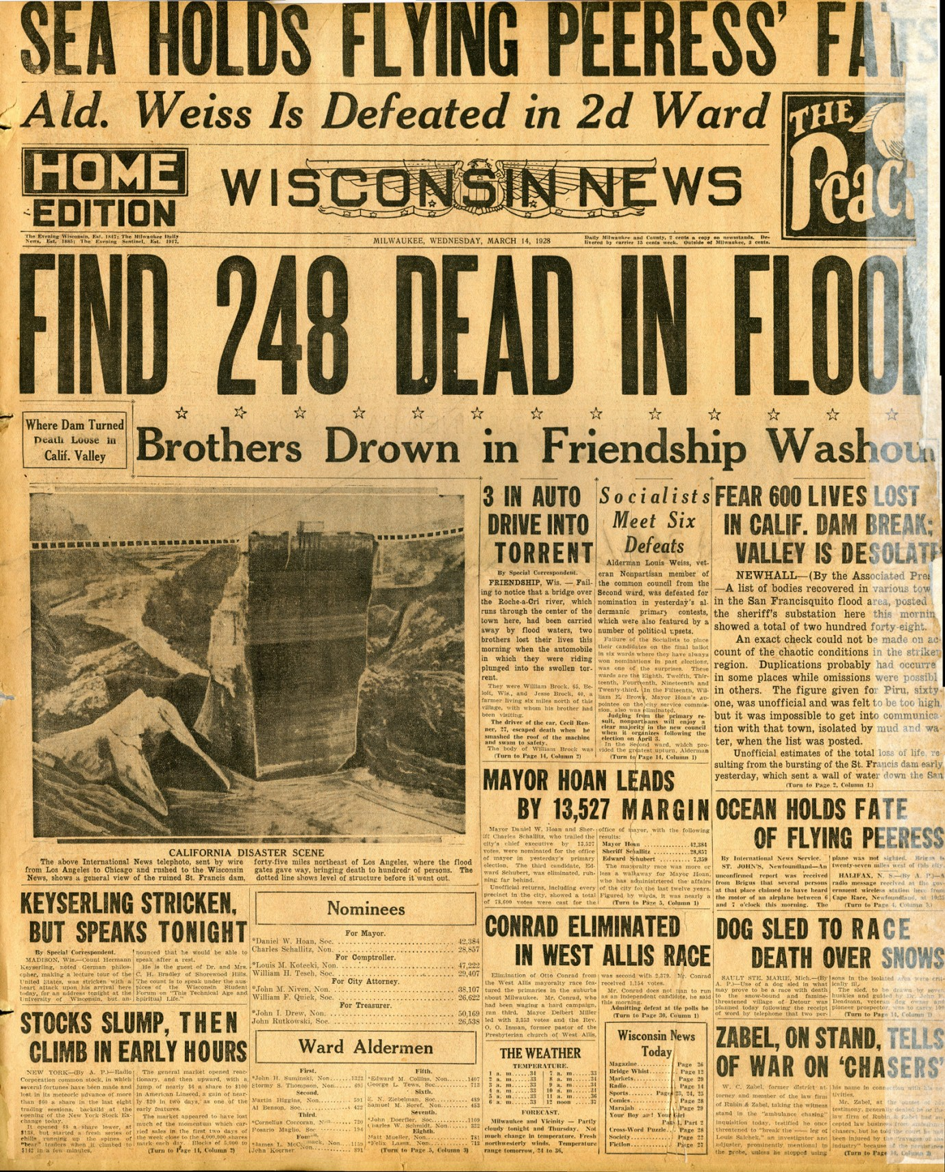 St. Francis Dam Disaster.  WISCONSIN NEWS (NEWSPAPER),  WEDNESDAY, MARCH 14, 1928