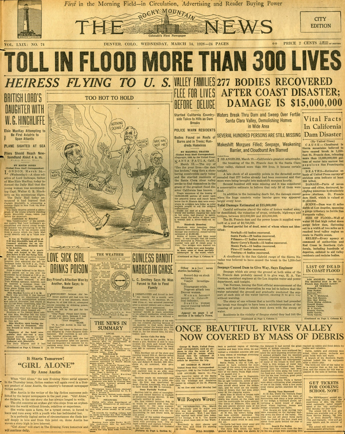 St. Francis Dam Disaster.  THE ROCKY MOUNTAIN NEWS (NEWSPAPER),  WEDNESDAY, MARCH 14, 1928