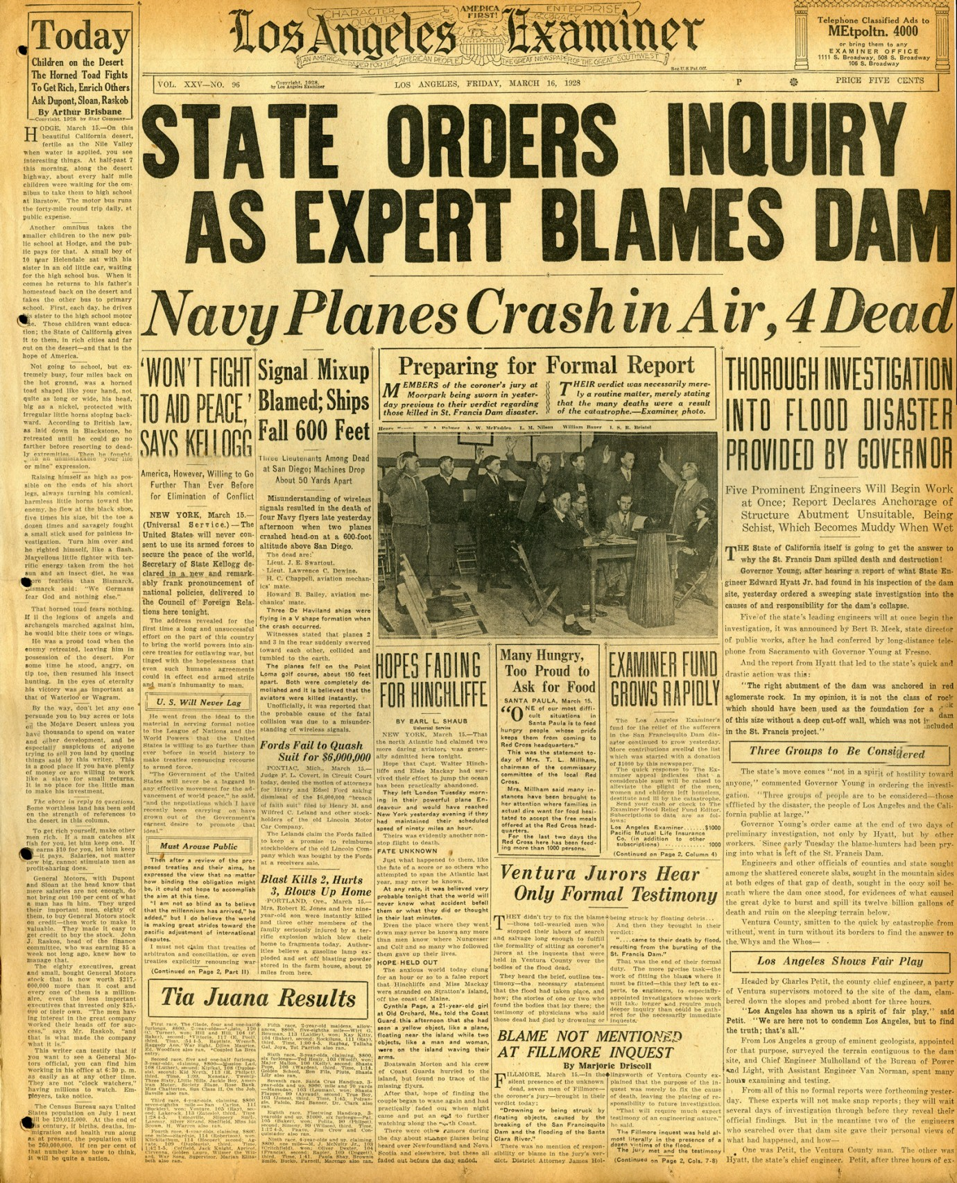 St. Francis Dam Disaster  LOS ANGELES EXAMINER  Los Angeles, California | Friday, March 16, 1928