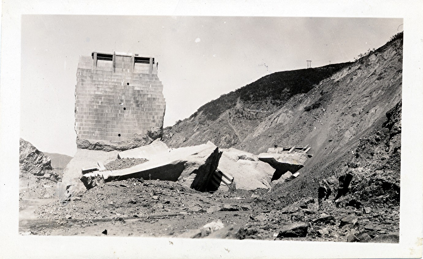 San Francisquito Canyon & Flood path. Photos of the St. Francis Dam disaster.