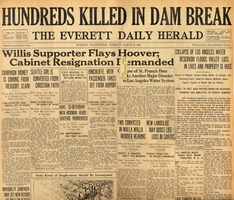 Newspapers of the St. Francis Dam Disaster.  The Everett Daily Herald (newspaper), Everett, Washington.  Tuesday, March 13, 1928