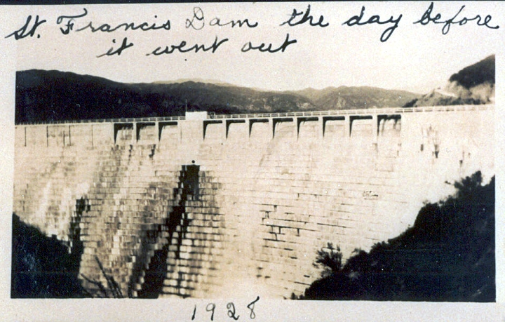 Last Known Photo of Intact Dam. ST. FRANCIS DAM | SAN FRANCISQUITO CANYON. Photos of the St. Francis Dam Disaster.