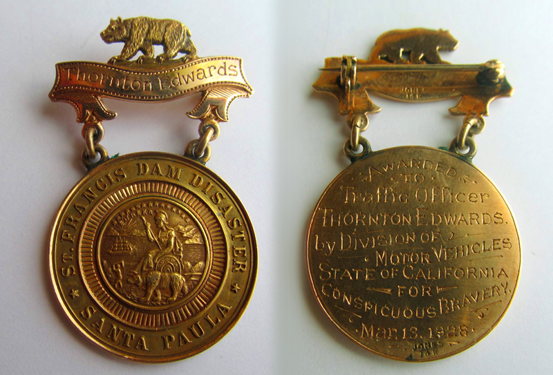 Gold Badge Awarded to Officer Thornton Edwards. Photos of the St. Francis Dam disaster.