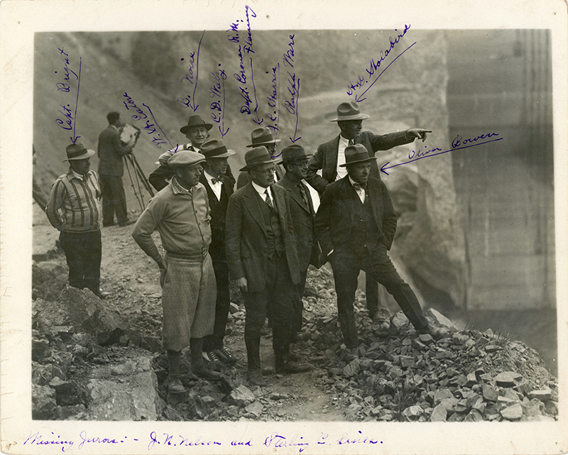 Coroner's Jury Inspects Dam Site. SAN FRANCISQUITO CANYON. Photos of the St. Francis Dam disaster.