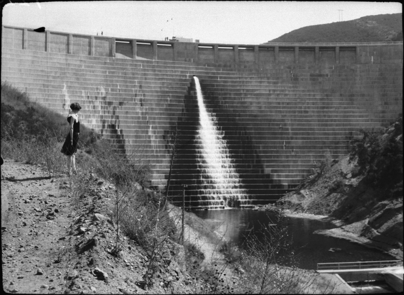 St. Francis Dam with Water in Forebay. SAN FRANCISQUITO CANYON. Photos of the St. Francis Dam disaster.