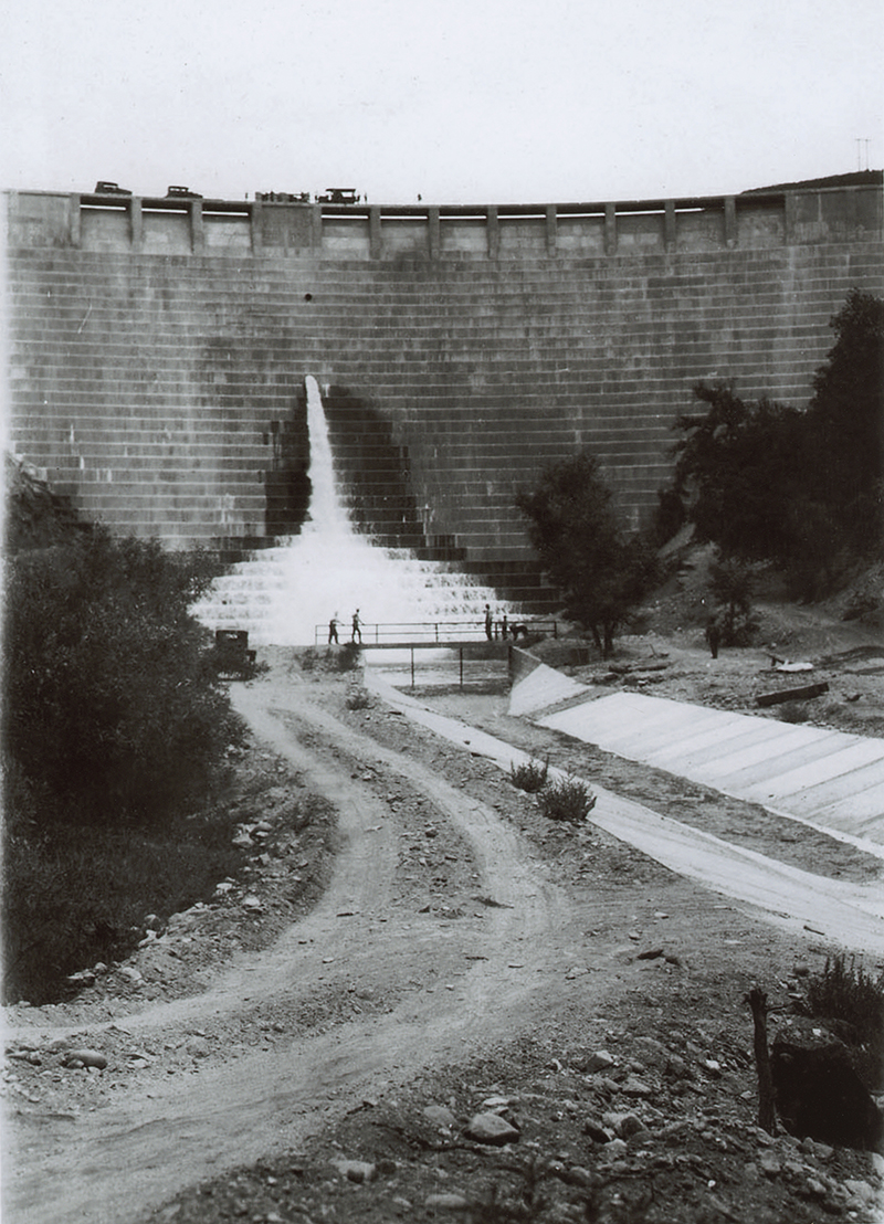 Footbridge Over Forebay. ST. FRANCIS DAM | SAN FRANCISQUITO CANYON. Photos of the St. Francis Dam disaster.