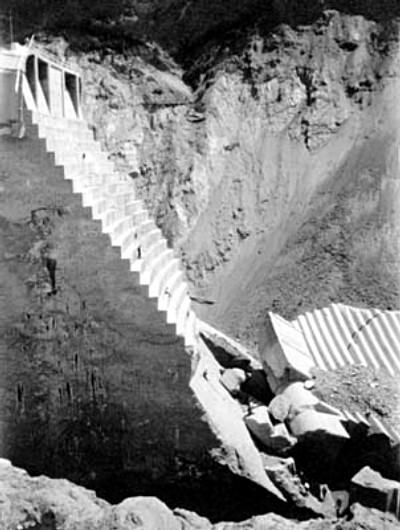 Eastern Abutment. Photos of the St. Francis Dam disaster.