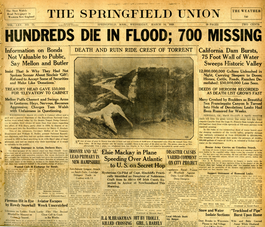 St. Francis Dam Disaster.  The Springfield Union (newspaper), Springfield, Massachusetts.  Wednesday, March 14, 1928