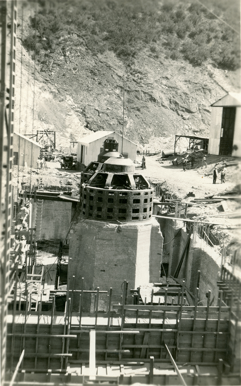 St. Francis Dam Disaster Site and Start of PH-2 Reconstruction. SAN FRANCISQUITO CANYON. Photos of the St. Francis Dam disaster.