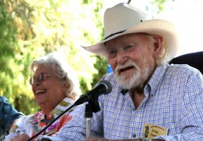 Dobe Carey and wife Marilyn, left, return to the old Saugus ranch in 2009 to take questions from friends and fans. (Follow link above to watch the video.) Photo by Stephen K. Peeples.
