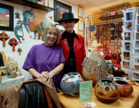 Bobbi Jean Bell (right) offers apparel, artwork and more at OutWest on Main Street.
