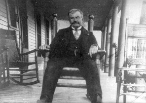 Charles Alexander Mentry on the porch of his Pico Cottage in 1893, according to a hand-written date on the print.