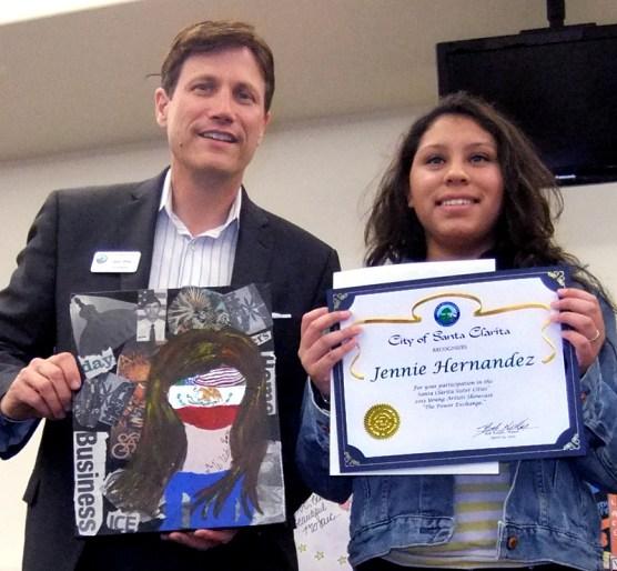 Jennie Hernandez of SCVi Charter School with Arts Commissioner John Dow.