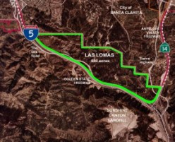 "Map from a ""Stop Las Lomas"" website in 2007. Once slated for urban development, the city of Santa Clarita and county of Los Angeles are buying tbe property to preserve it as public parkland."