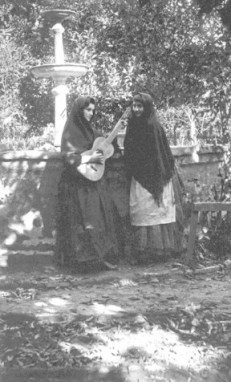 Nena del Valle Cram (with guitar) and Susanita del Valle at Rancho Camulos in 1888. Photo by Charles Fletcher Lummis.