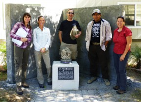 """Forgotten Casualties"" team members at the dam memorial at the Angeles National Forest Fire Station. From left, Krystal Kissinger, Julee Licon, James E. Snead, Efren Martinez and Ann Stansell. Photo courtesy of James E. Snead/CSUN."