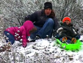 Although not Mustard Hill, a family found a place in Mentryville to try out a sled in 2011.