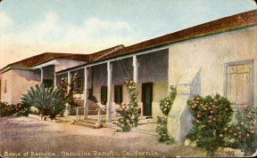 This and other postcards of the Del Valle adobe at Rancho Camulos would have been very familiar to 1928 audiences. Click image for information.