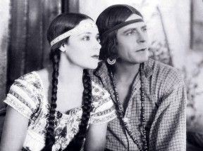 """Dolores Del Rio as the title character and Warner Baxter as Alessandro in Edwin Carewe's 1928 """"Ramona."""" Screenshot courtesy of Hugh Munro Neely."""