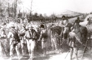Drawing depicts the Army of Northern Virginia stacking weapons in surrender. Image: National Park Service.