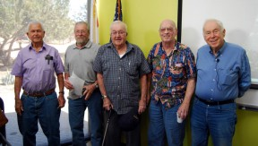 From left: Longtime Agua Dulce resident Vic Crowe, a surveyor in the area since 1970; Arizona resident Dick Held, whose family owned the land that was to become Agua Dulce Airport; Canyon Country resident Charles Wright, also a surveyor whose dad homesteaded in Mint Canyon in 1912; and San Diego resident Ray Hanawalt, whose father built AAA Ranch) — with childhood neighbor Jeff Asher. Photo by Lillian Smith/Agua Dulce-Acton Country Journal. Click for the story.