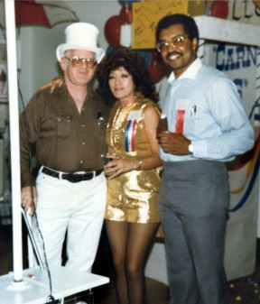 Connie, a longtime SCV Boys & Girls Club board member, at the 1986 benefit auction with supporter Mike Kline (left) and club executive Jim Ventress (right).