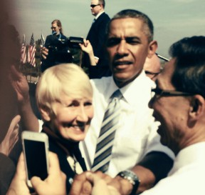 Santa Clarita Mayor Laurene Weste with President Obama at Friday afternoon's signing ceremony. In July the Santa Clarita City Council unanimously endorsed the more expansive legislative proposal by Rep. July Chu (D-Pasadena) which would have establishes the Santa Monica Mountains National Recreation Area.