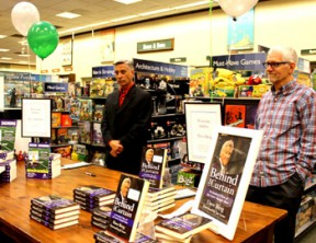 """Left, Steve Springer, former sportswriter for the Los Angeles Times is author of """"Laker Girl"""" and at right, Dave Berg, former writer and co-producer of The Tonight Show, The Jay Leno Show, The O'Reilly Factor and NBC News. Photo by Michele E. Buttelman."""