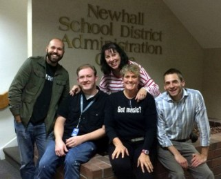 Newhall School District music teachers (from left): Ben Morey, Spencer Dorn, Jana Gruss, Tara Speiser, Brandon Valerino.