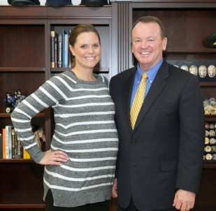 Sheriff Jim McDonnell with Deputy Underwood-Nunez about a month ago when he surprised her with the news of her award.