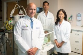 From left: Neonatologists Philippe S. Friedlich, M.D., and Steven W. Chin, M.D. of Children's Hospital Los Angeles team with Frances Su, M.D., a neonatologist at Providence Tarzana Medical Center.