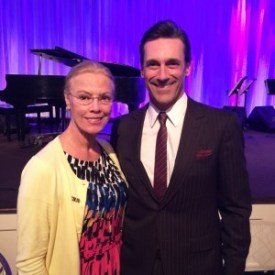 CSUN President Dianne F. Harrison and actor Jon Hamm at the Hollywood Foreign Press Association's dinner earlier this month.