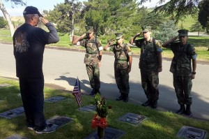 Preparing for 2015 Memorial Day event at Eternal Valley Cemetery