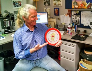 NAMM drum circle organizer John Fitzgerald displays a new drumSTRONG sound shape in his workspace at Remo's HQ in Valencia. drumSTRONG is an initiative to fight cancer. Visit drumstrong.org.