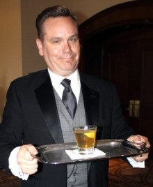 "Celebrity waiter Michael Owston embraces his character, ""The Butler."""