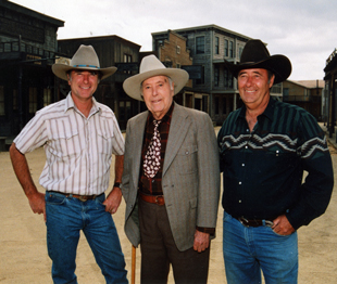 Paul Veluzat with sons Renaud (left) and Andre (right), Melody Ranch, early 1990s.