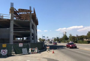 Parking garage under construction on Main Street in Old Town Newhall