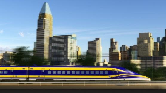 California high-speed rail bullet train rendering
