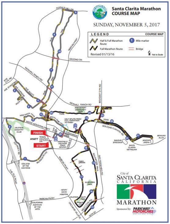 Santa Clarita Marathon 2017 map