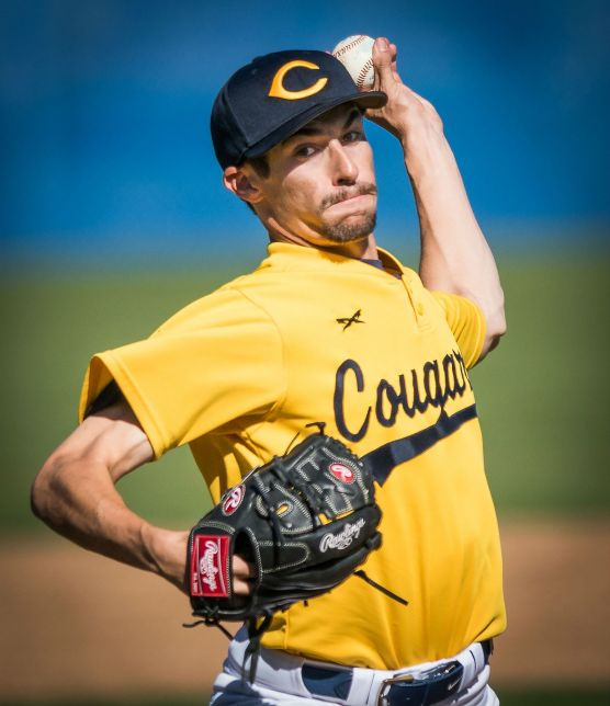 College of the Canyons' Justin King delivers a pitch to Chaffey College's Christian Valdez during the 5th inning Saturday, February 17, 2018 at COC. King struck out Valdez to end the inning and shut down the visiting Panthers to pick up his second win of the year. Photo: Kevin Karzin.